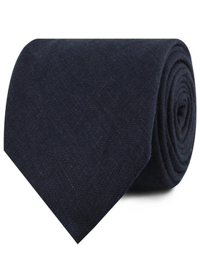 Dark Midnight Blue Linen Necktie