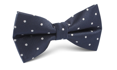 Dark Midnight Blue with White Polka Dots Bow Tie