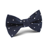 Dark Midnight Blue with White Polka Dots Kids Bow Tie