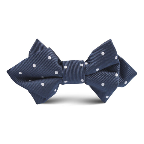 Dark Midnight Blue with White Polka Dots Kids Diamond Bow Tie