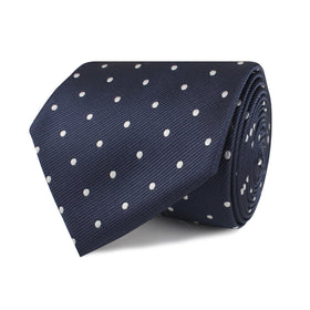 Dark Midnight Blue with White Polka Dots Necktie
