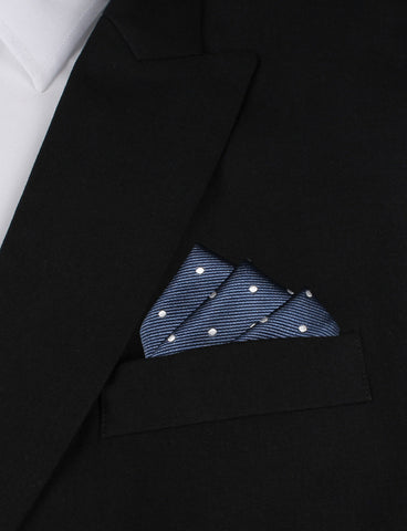 Dark Midnight Blue with White Polka Dots Pocket Square