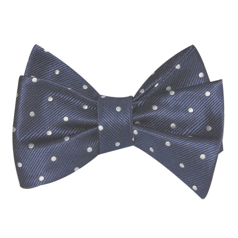 Dark Midnight Blue with White Polka Dots Self Tie Bow Tie