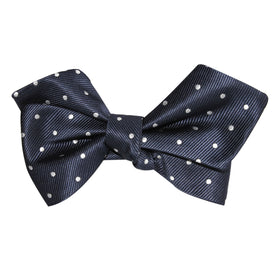 Dark Midnight Blue with White Polka Dots Self Tie Diamond Tip Bow Tie