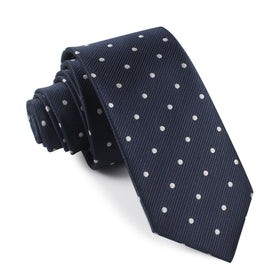 Dark Midnight Blue with White Polka Dots Skinny Tie