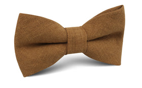 Dark Mustard Brown Linen Bow Tie