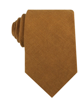 Dark Mustard Brown Linen Necktie