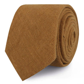 Dark Mustard Brown Linen Skinny Tie