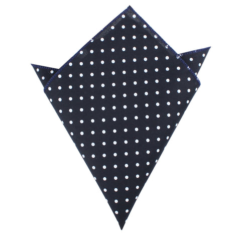 Dark Navy Blue Cotton with Mini White Polka Dots Pocket Square