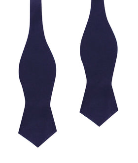 Dark Navy Blue Velvet Diamond Self Bow Tie