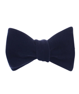 Dark Navy Blue Velvet Self Bow Tie