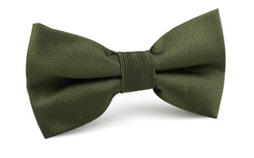 Dark Olive Green Weave Bow Tie