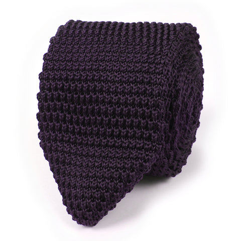 Dark Purple Pointed Knitted Tie