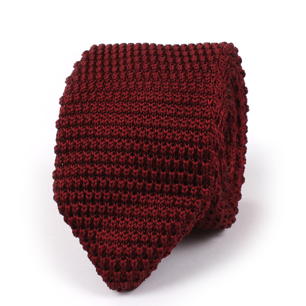Dark Rosewood Maroon Pointed Knitted Tie