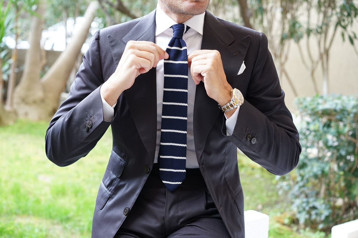 Davy Jones Striped Knitted Tie
