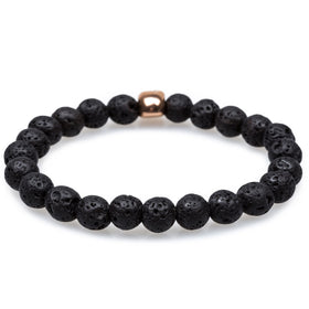 Davy Jones Volcanic Rock Rose Gold Skull Bracelet