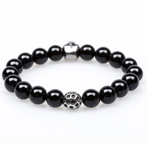 Day of the Dead Onyx Silver Skull Bracelet