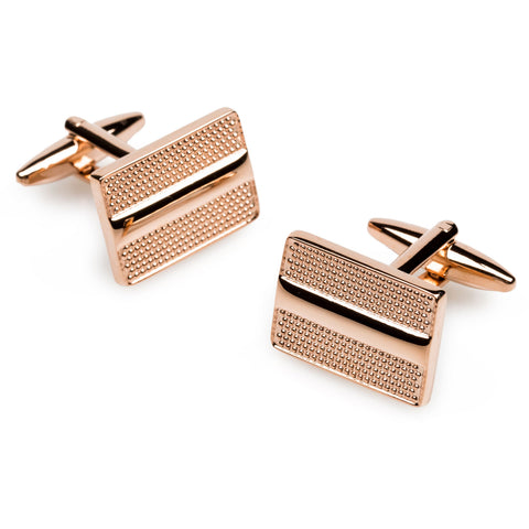 De Roger Rose Gold Rectangle Cufflinks