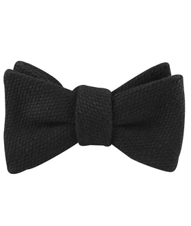 Dean Martin Black Linen Self Bow Tie