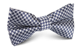 Deep Blue Houndstooth Bow Tie