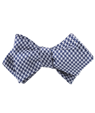 Deep Blue Houndstooth Diamond Self Bow Tie