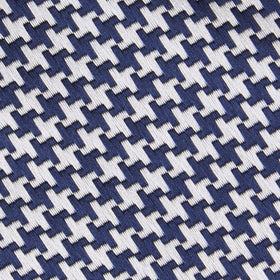 Deep Blue Houndstooth Kids Diamond Bow Tie