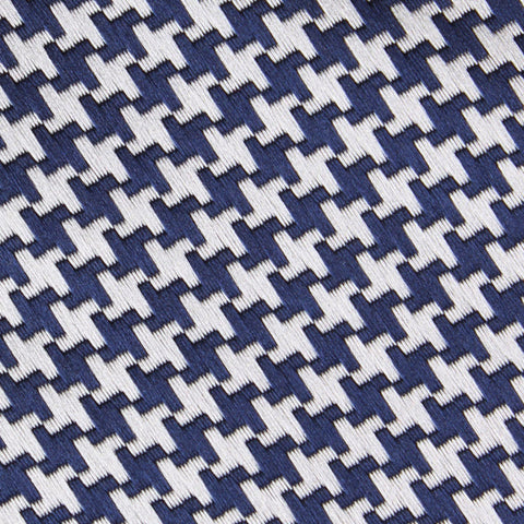 Deep Blue Houndstooth Pocket Square
