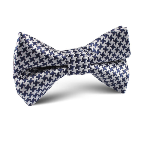 Deep Blue Houndstooth Kids Bow Tie