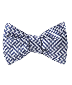 Deep Blue Houndstooth Self Bow Tie