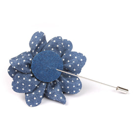 Delta Blue Polkadot Lapel Flower Pin Front Boutonniere