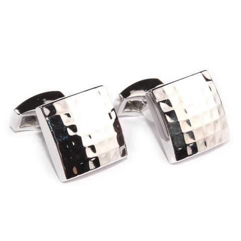 Dented Silver Square Grid Cufflinks