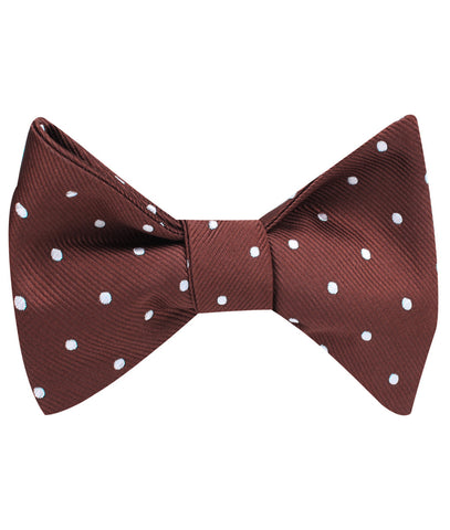 Desert Brown Polka Dots Self Bow Tie