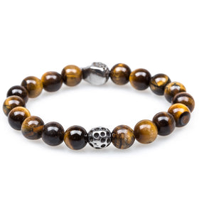 Desert Yellow Tiger's Eye Skull Bracelet