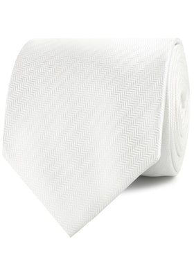 Diamond White Herringbone Chevron Necktie