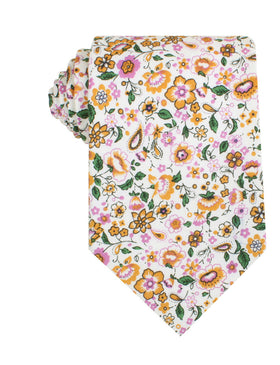 Diamond White Liberty Floral Necktie