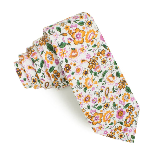 Diamond White Liberty Floral Skinny Tie