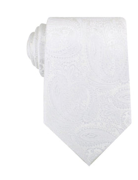 Diamond White Teardrop Paisley Necktie