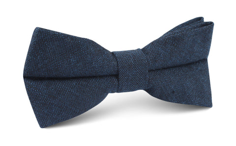 Don Quixote Navy Textured Linen Bow Tie