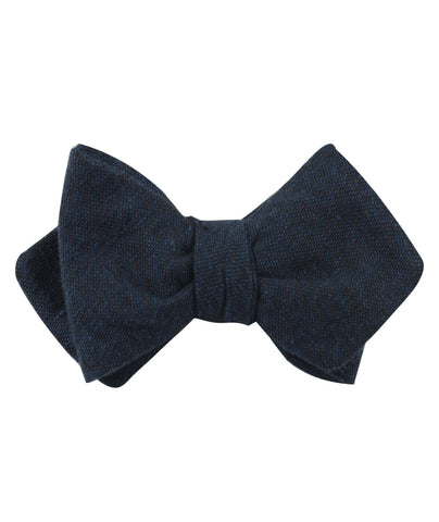 Don Quixote Navy Textured Linen Diamond Self Bow Tie