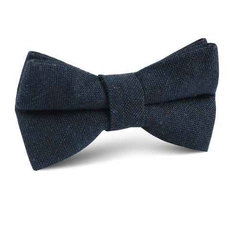 Don Quixote Navy Textured Linen Kids Bow Tie