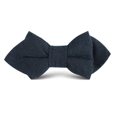 Don Quixote Navy Textured Linen Kids Diamond Bow Tie