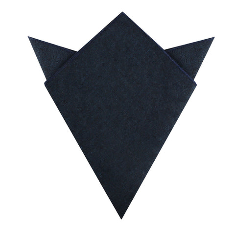 Don Quixote Navy Textured Linen Pocket Square