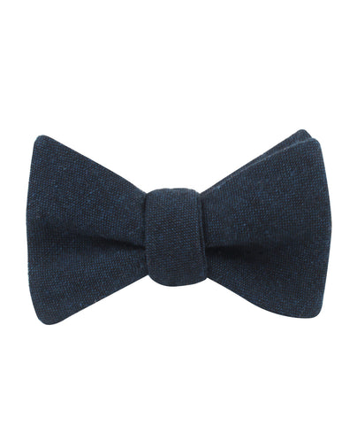 Don Quixote Navy Textured Linen Self Bow Tie