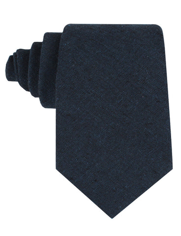 Don Quixote Navy Textured Linen Tie