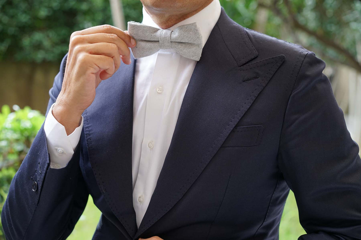 Dry Grey Donegal Linen Bow Tie