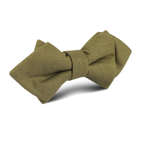 Dry Green Khaki Linen Diamond Bow Tie