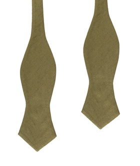 Dry Green Khaki Linen Diamond Self Bow Tie