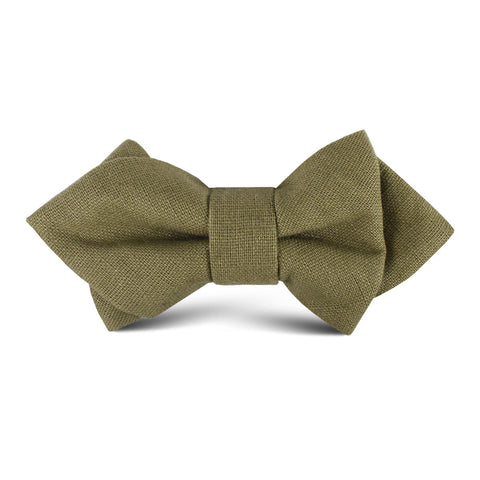 Dry Green Khaki Linen Kids Diamond Bow Tie