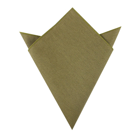 Dry Green Khaki Linen Pocket Square