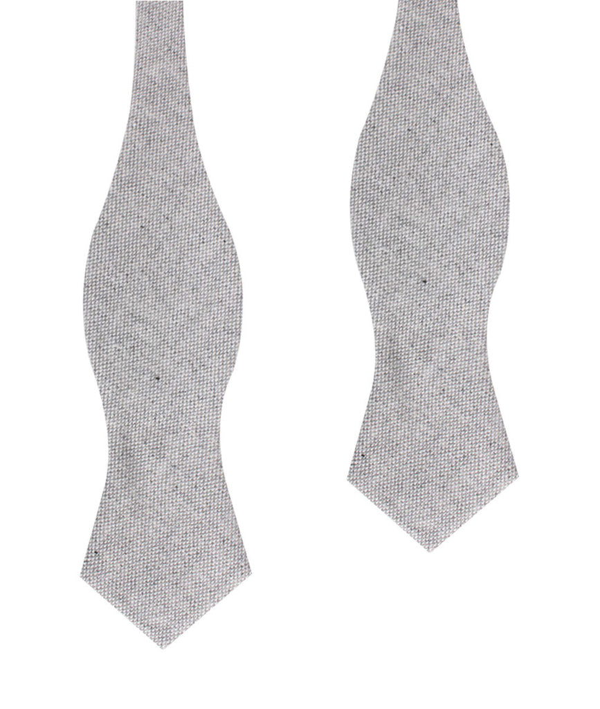 Dry Grey Donegal Linen Diamond Self Bow Tie